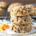 A stack of three carrot cake breakfast cookies.