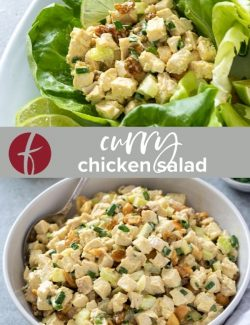Curry chicken salad recipe collage pin