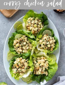 Curry chicken salad recipe pin 1