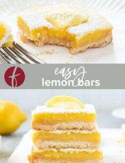 Easy Lemon Bars Recipe collage pin