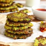 A stack of broccoli carrot fritters.