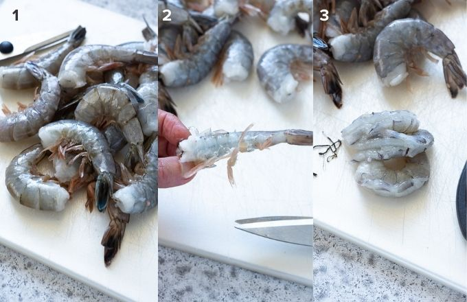 How to peel and devein shrimp collage
