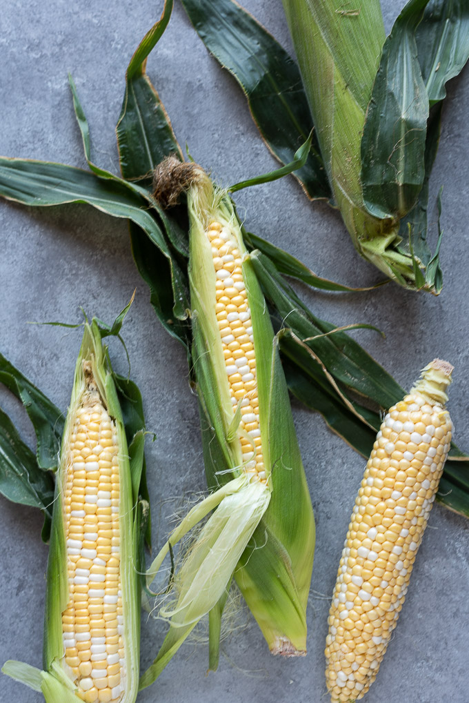 Fresh corn on the cob before cooking