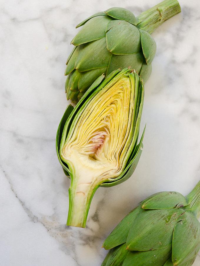 Fresh artichoke cut in half