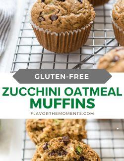 Gluten-free zucchini muffins long collage pin