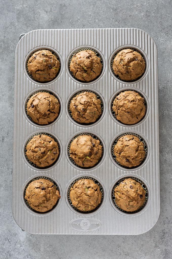 Healthy zucchini muffins in muffin pan