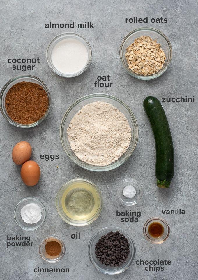 Healthy zucchini muffins ingredients