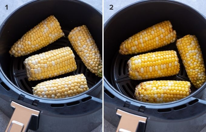 How to make corn on the cob in the air fryer collage