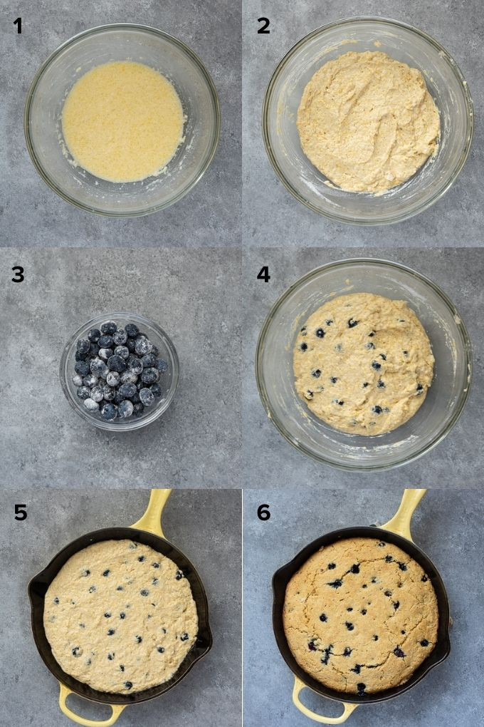 How to make blueberry cornbread collage