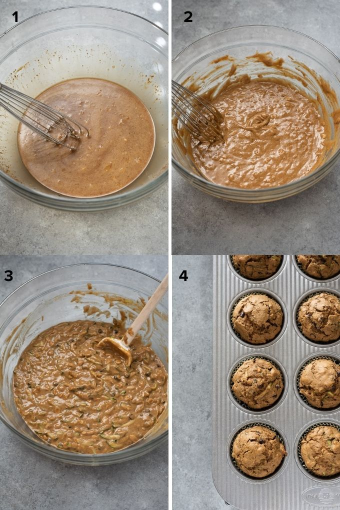 How to make healthy zucchini muffins collage