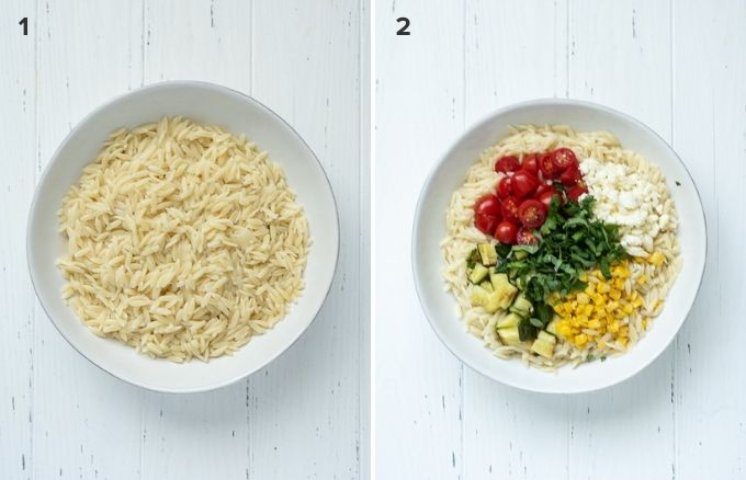 How to make orzo pasta salad collage pin