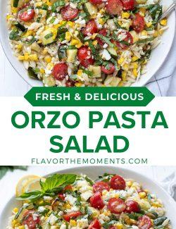 Summer orzo pasta salad recipe long collage pin