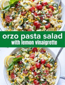 Orzo pasta salad recipe short collage pin