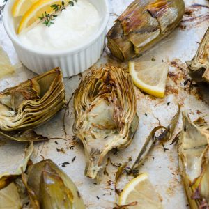 Oven roasted artichokes with garlic parmesan dip