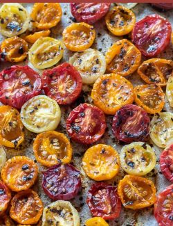 Slow roasted cherry tomatoes recipe long pin