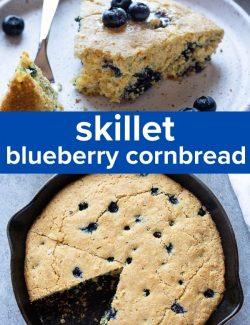 Skillet blueberry cornbread short collage pin
