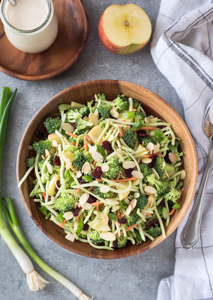 Broccoli slaw recipe in a bowl without dressing