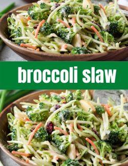 Broccoli slaw recipe short collage pin