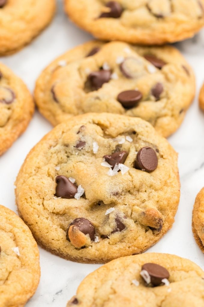 Chewy chocolate chip cookies with flaky sea salt