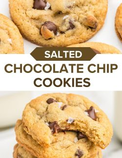 Salted chocolate chip cookies long collage pin