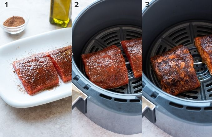 How to cook salmon in air fryer collage