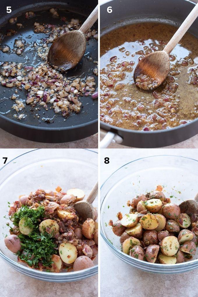 How to make German potato salad collage