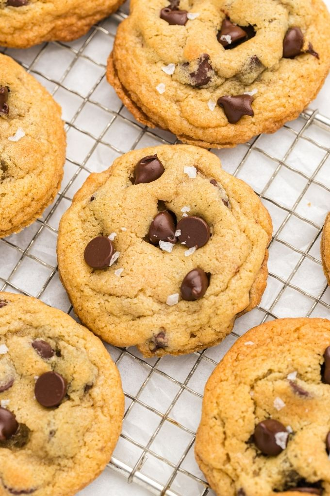 Homemade chocolate chip cookies on a wire rack
