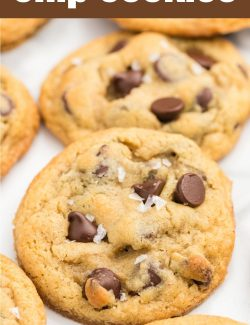 Salted chocolate chip cookies long pin