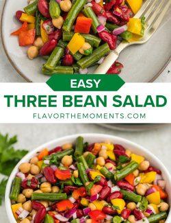 Three bean salad recipe long collage pin