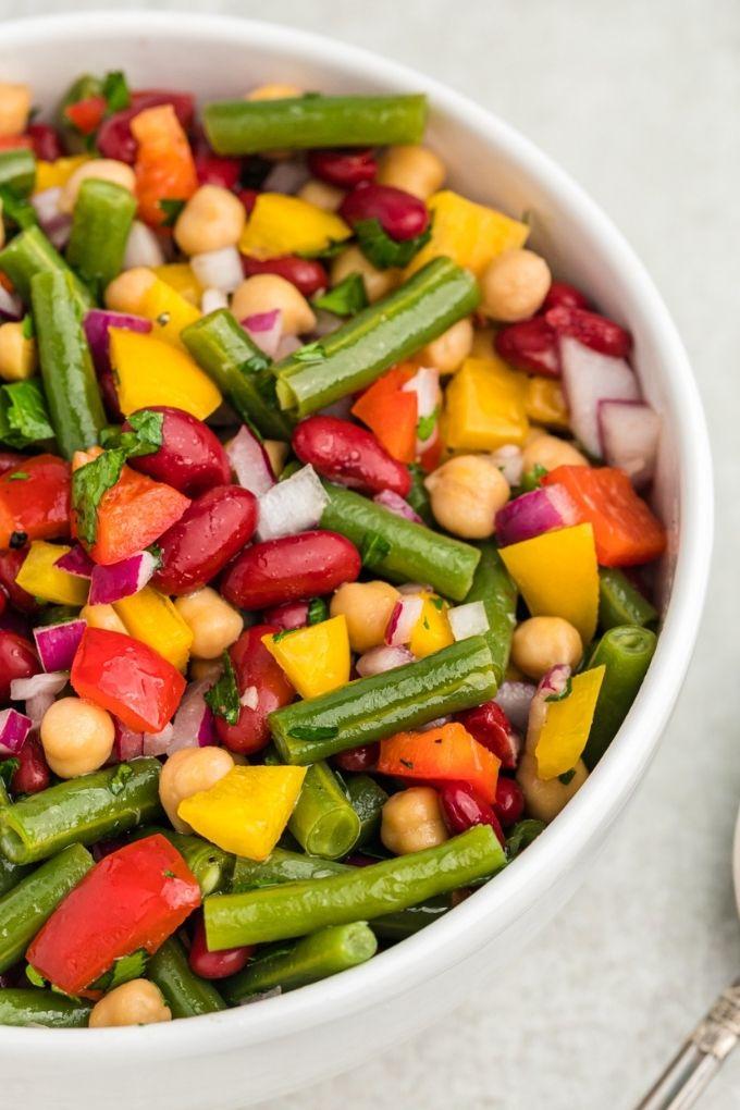 Bowl of three bean salad close up