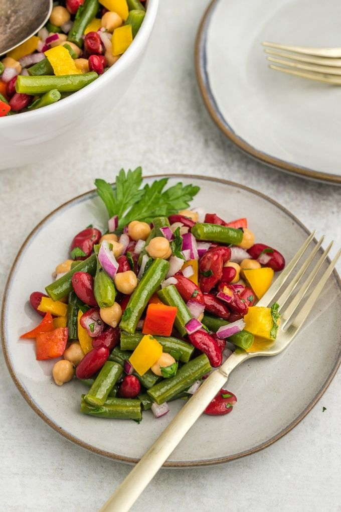 Plate of three bean salad with fork