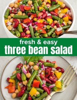 Three bean salad recipe short collage pin
