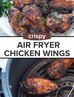 Air Fryer Chicken Wings recipe long collage pin
