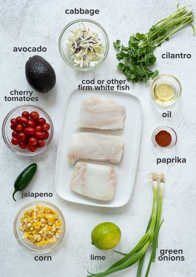 Grilled fish taco with cherry tomato salsa ingredients