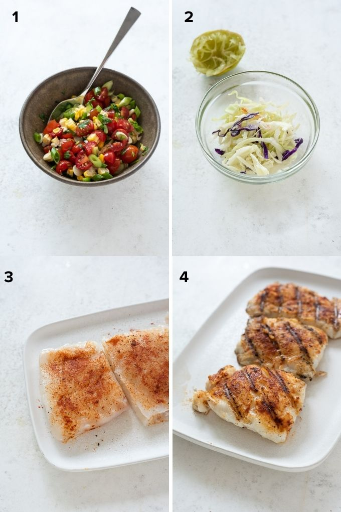 How to make grilled fish tacos with cherry tomato salsa collage