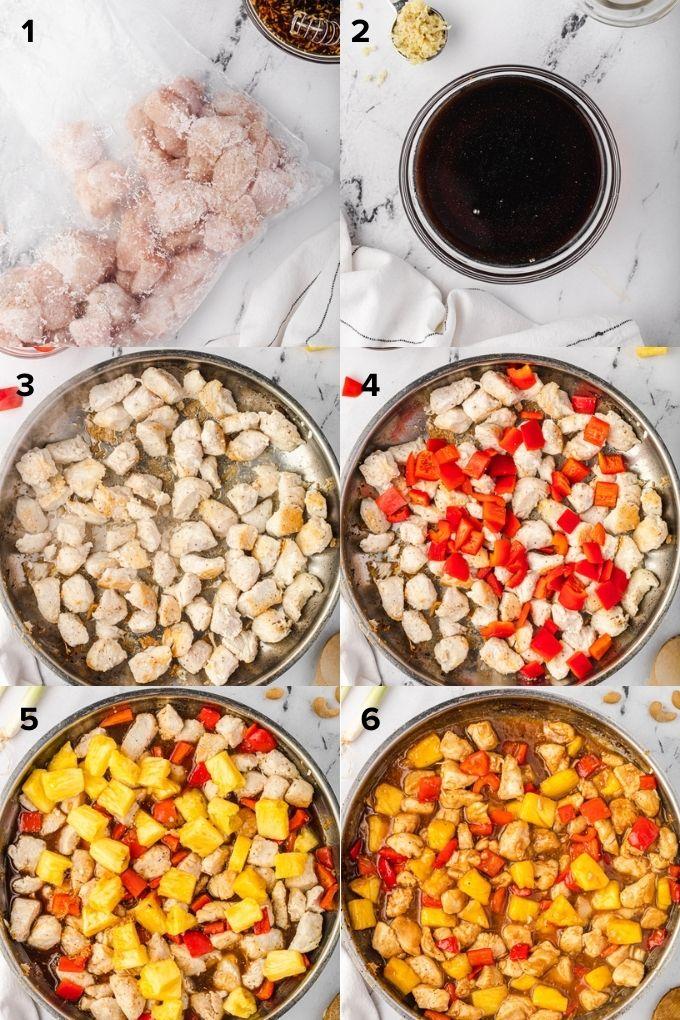 How to make pineapple teriyaki chicken collage