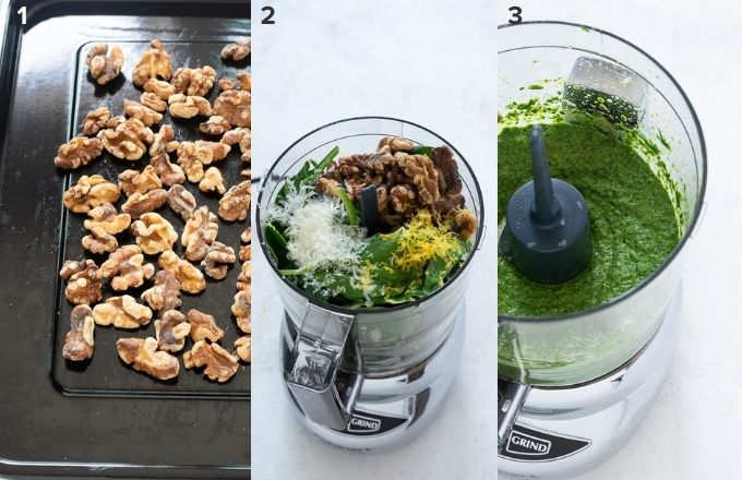 How to make spinach pesto collage