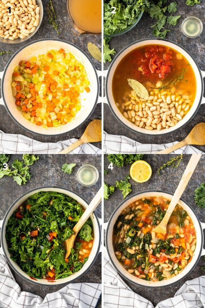 How to make white bean kale soup collage