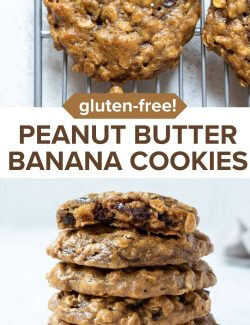 Peanut butter banana cookies long collage pin