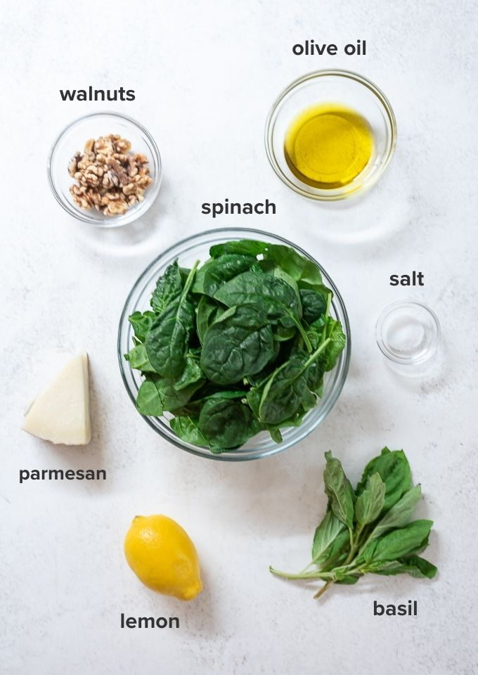 Spinach pesto ingredients