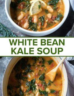 White Bean Kale Soup long collage pin