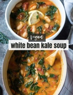 White bean and kale soup short collage pin