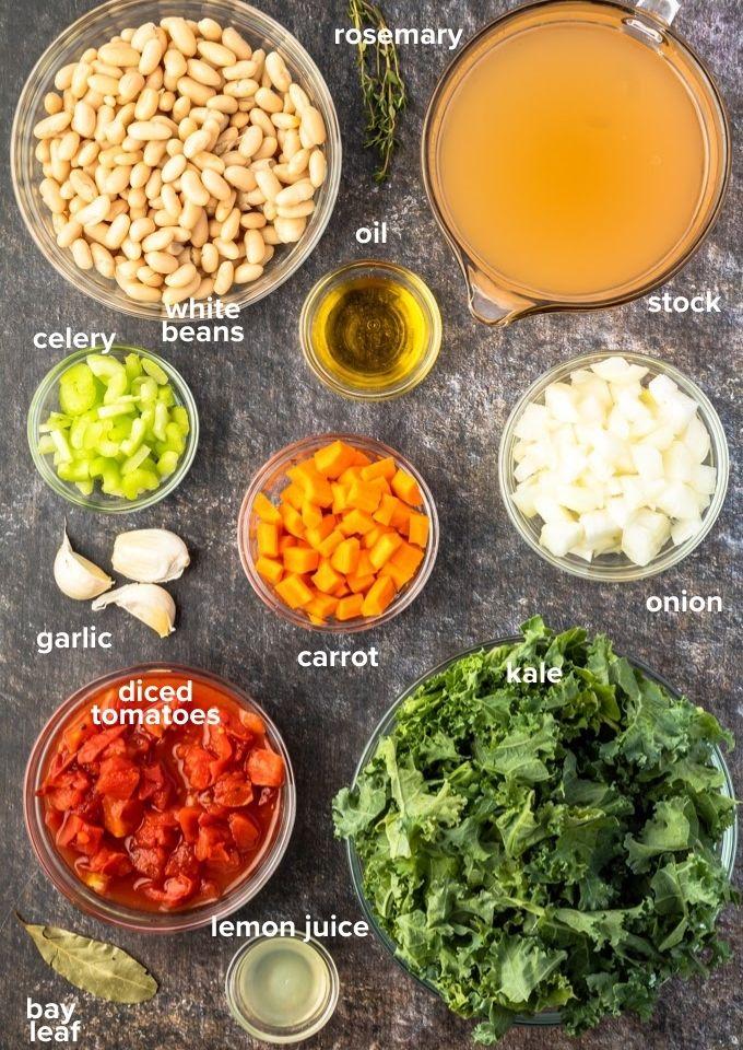 White bean kale soup ingredients