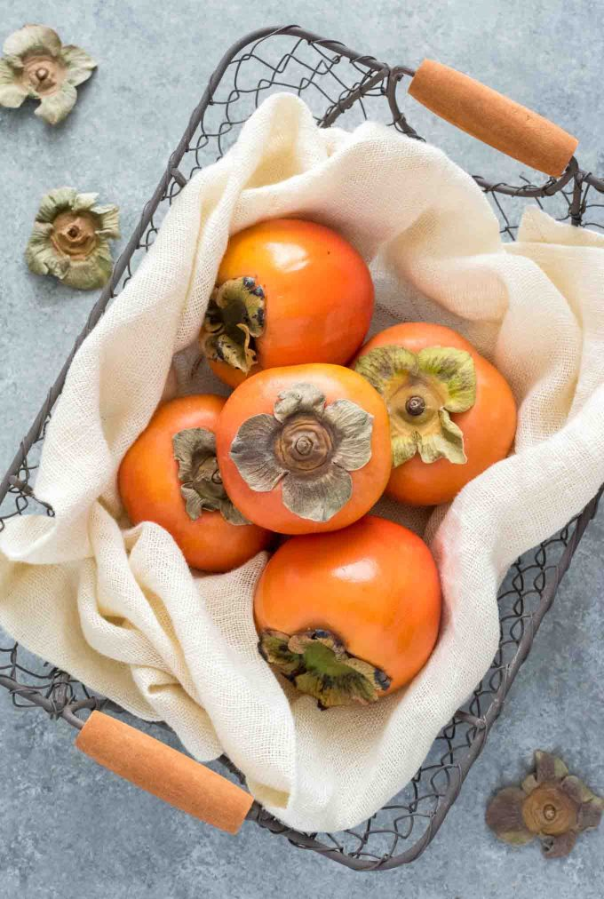 Fuyu persimmon in a basket